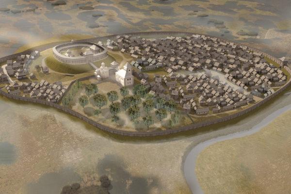 Звенигород за часів розквіту у XII-XIII ст. Реконструкція на основі археологічних досліджень