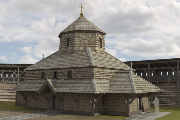 Wooden church in the inner city, 11th to 13th century. Reconstruction on the basis of archaeological excavations