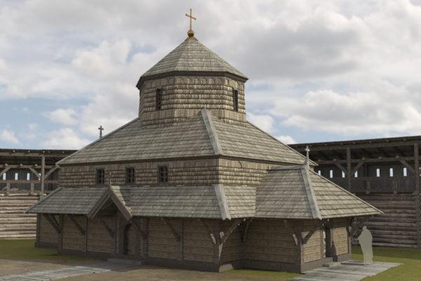 Дерев'яна церква на дитинці XI-XIII ст. Реконструкція на основі археологічних досліджень