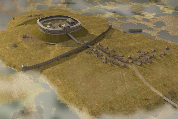 Zvenyhorod in the times of Volodar in the 11th century. Reconstruction on the basis of archaeological excavations